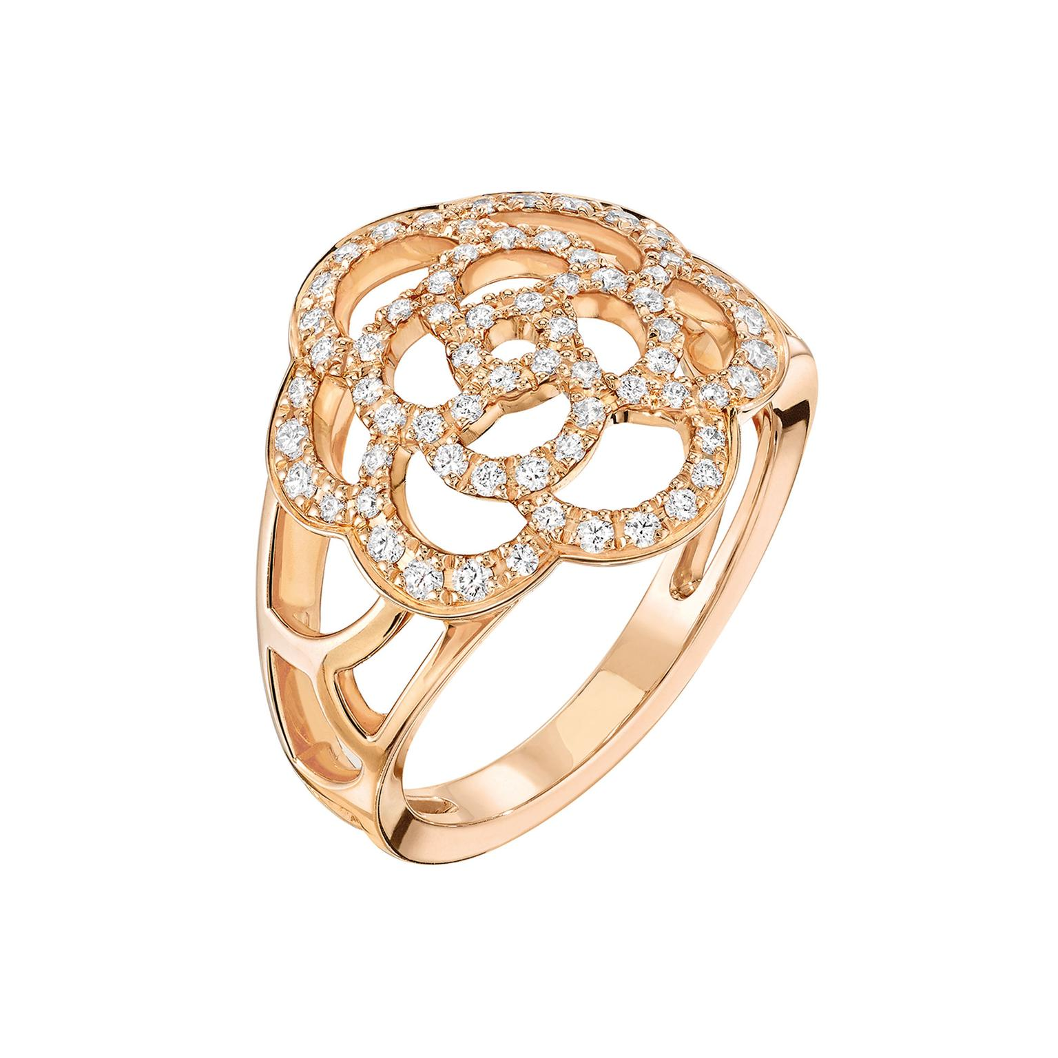 camélia ring in rose gold and diamonds chanel