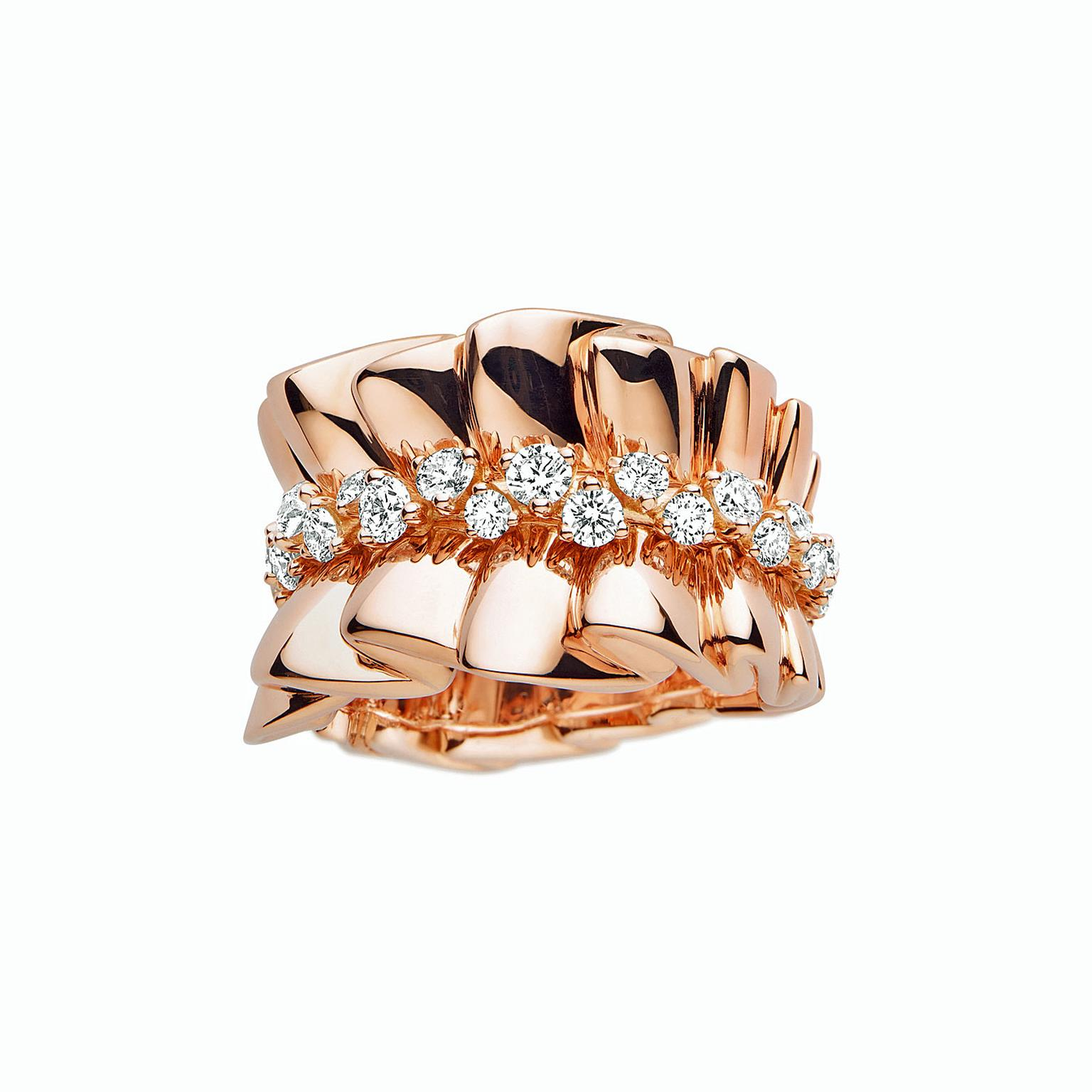 Archi Dior Bar en Corolle Bague rose gold and diamond ring