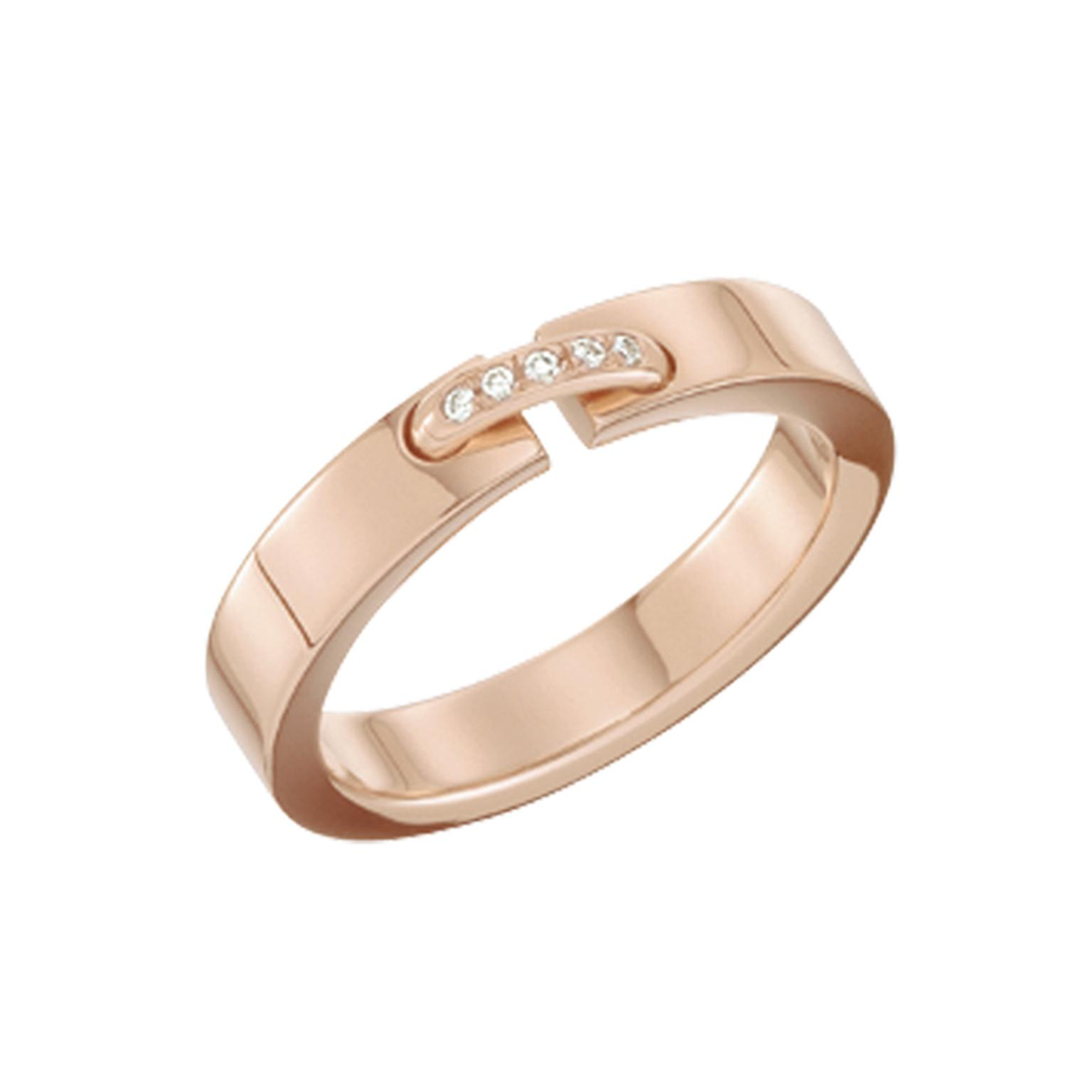 Évidence rose gold ring with diamonds