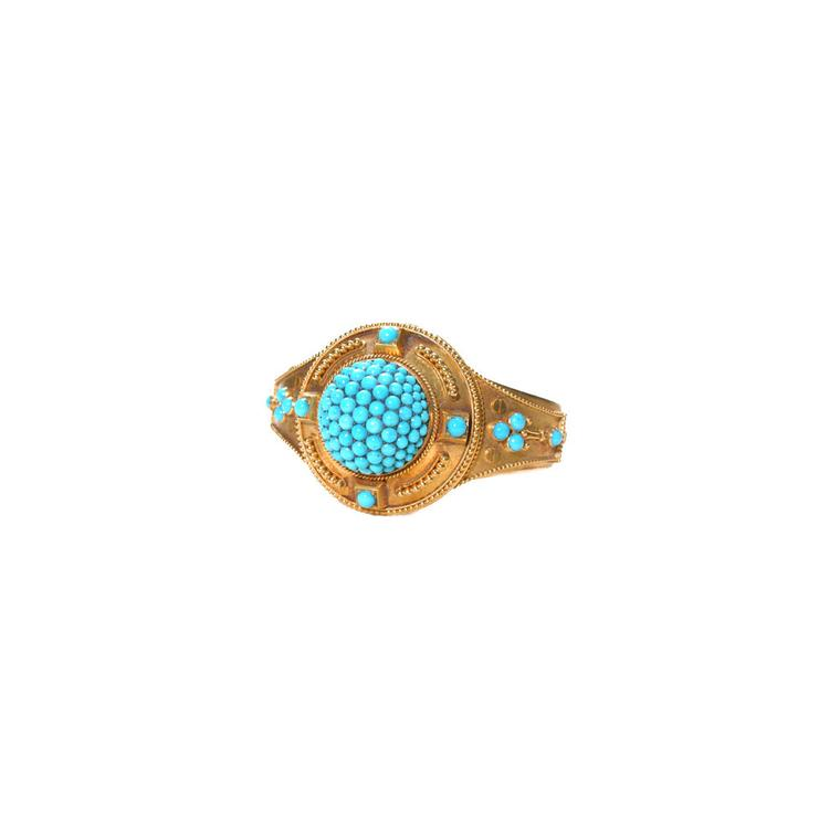 The Three Graces turquoise pavé set gold bracelet