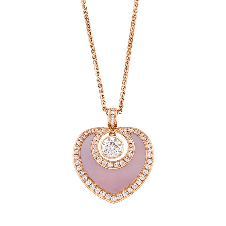 Boodles Sophie pendant in rose gold, diamond and mother-of-pearl