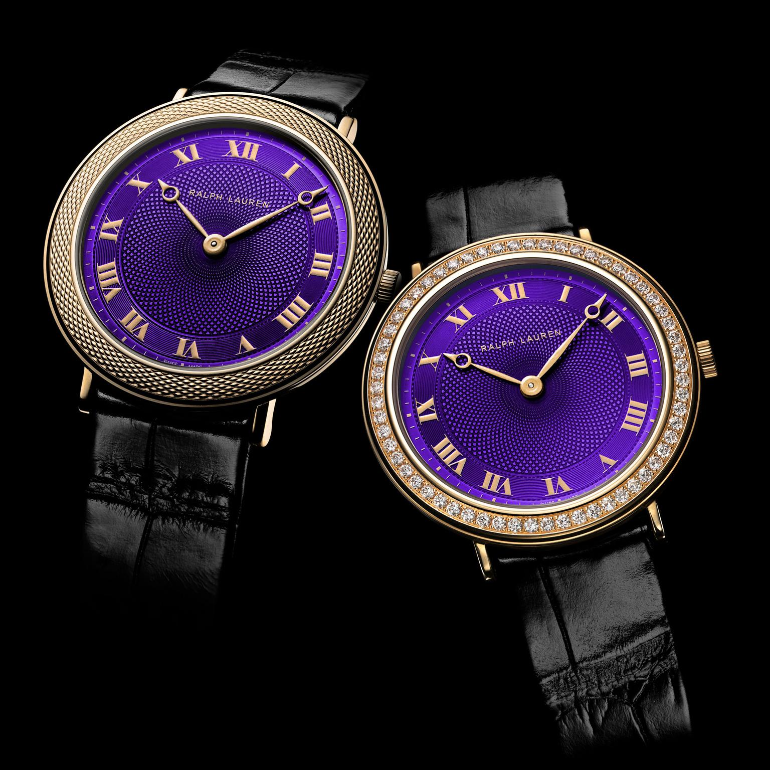 Ralph Lauren Slim Classique 32mm purple dial watches