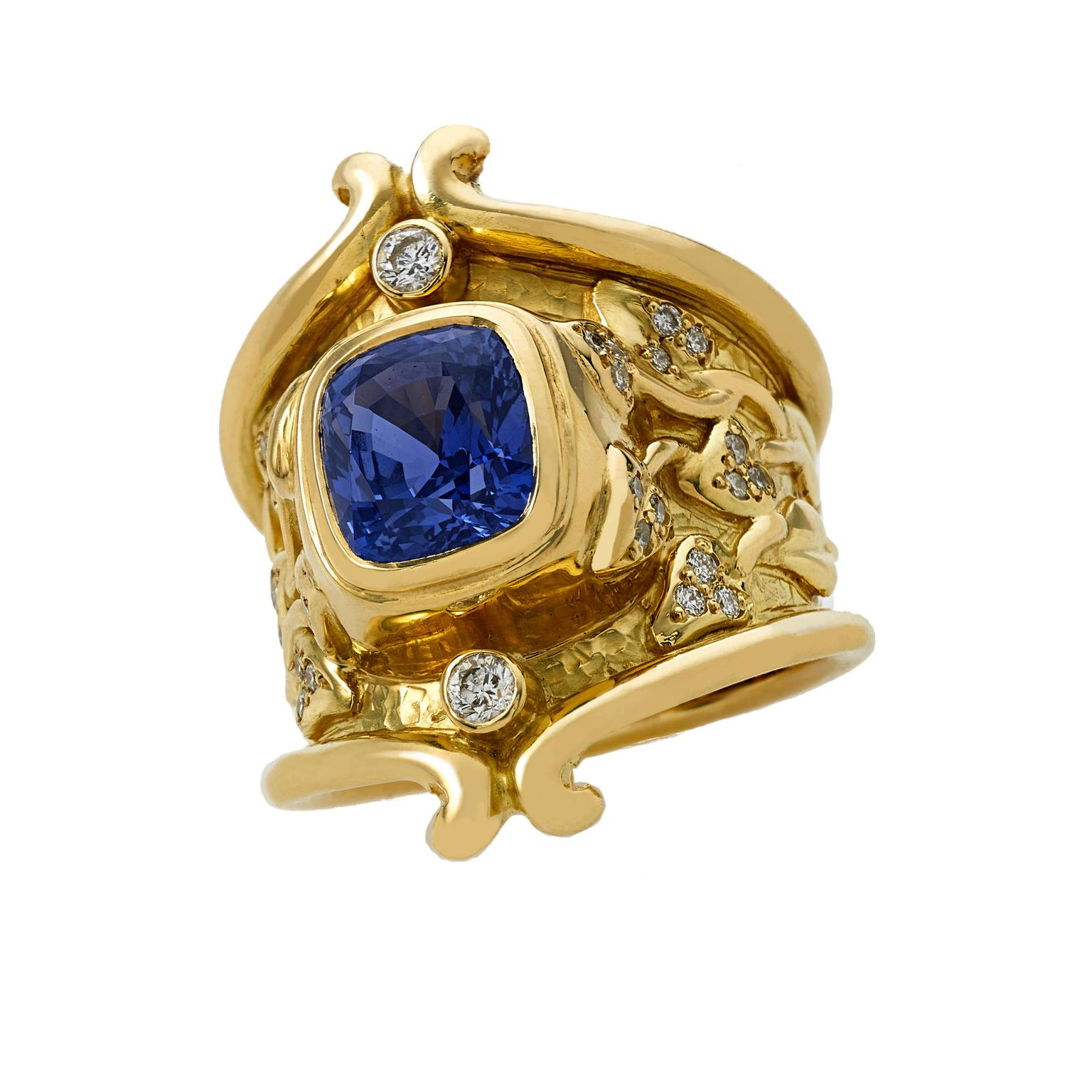 Elizabeth Gage sapphire and diamond ring