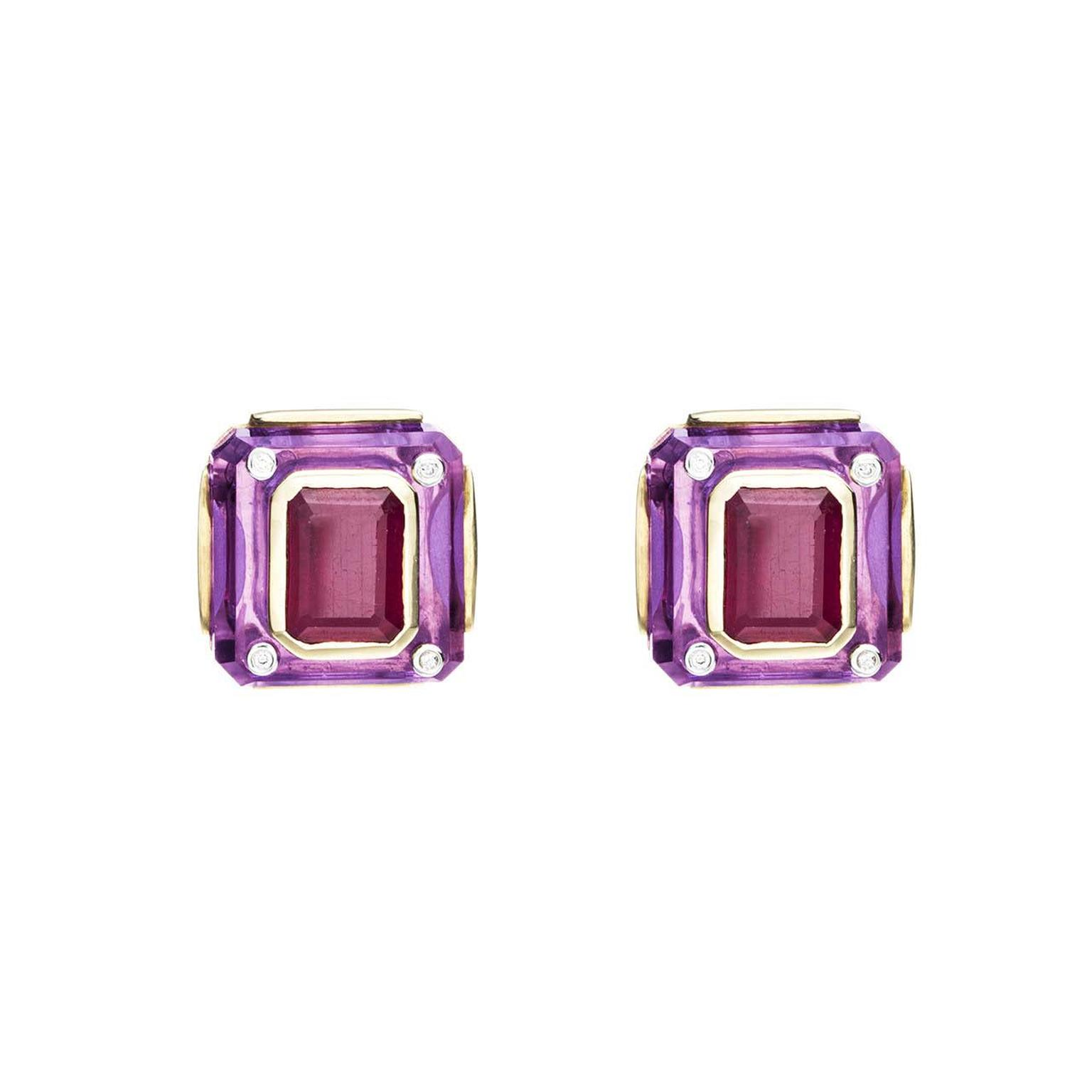 Kara Ross Cava earrings in amethyst and ruby