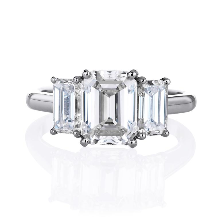 De Beers DB Classic emerald cut diamond engagement ring
