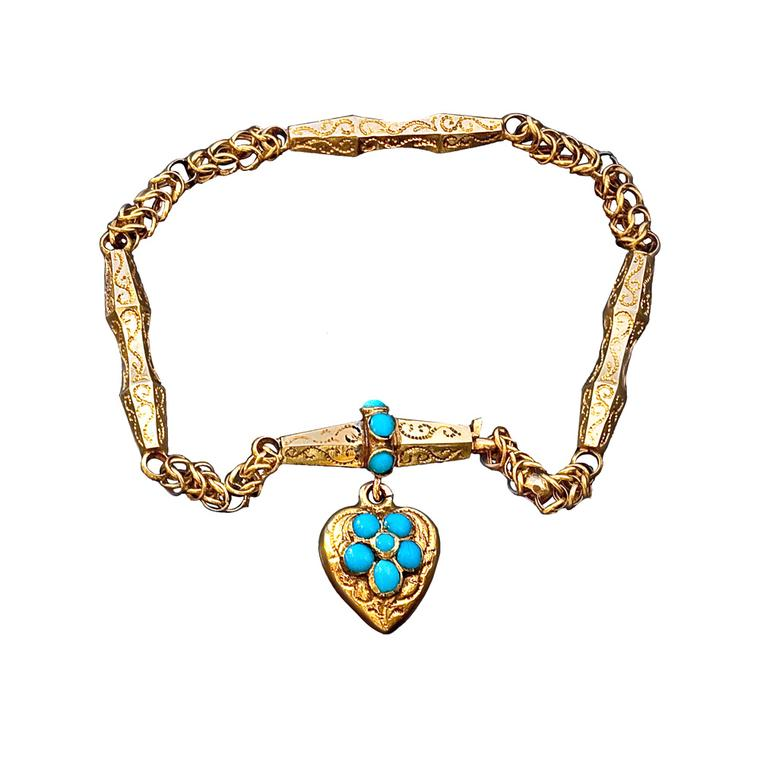 Romanov gold and turquoise forget me not locket bracelet