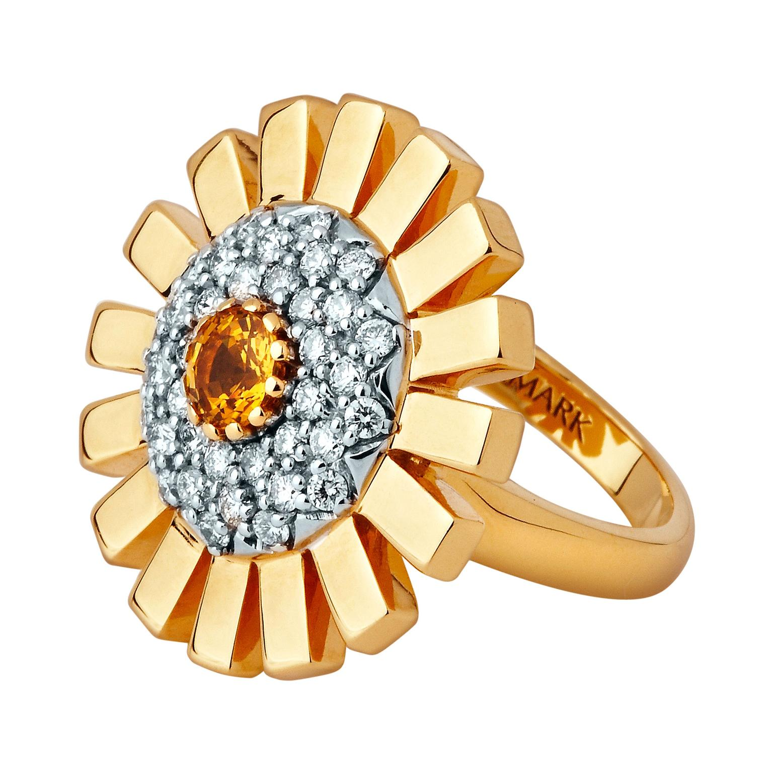 Stenmark yellow sapphire and white diamond ring