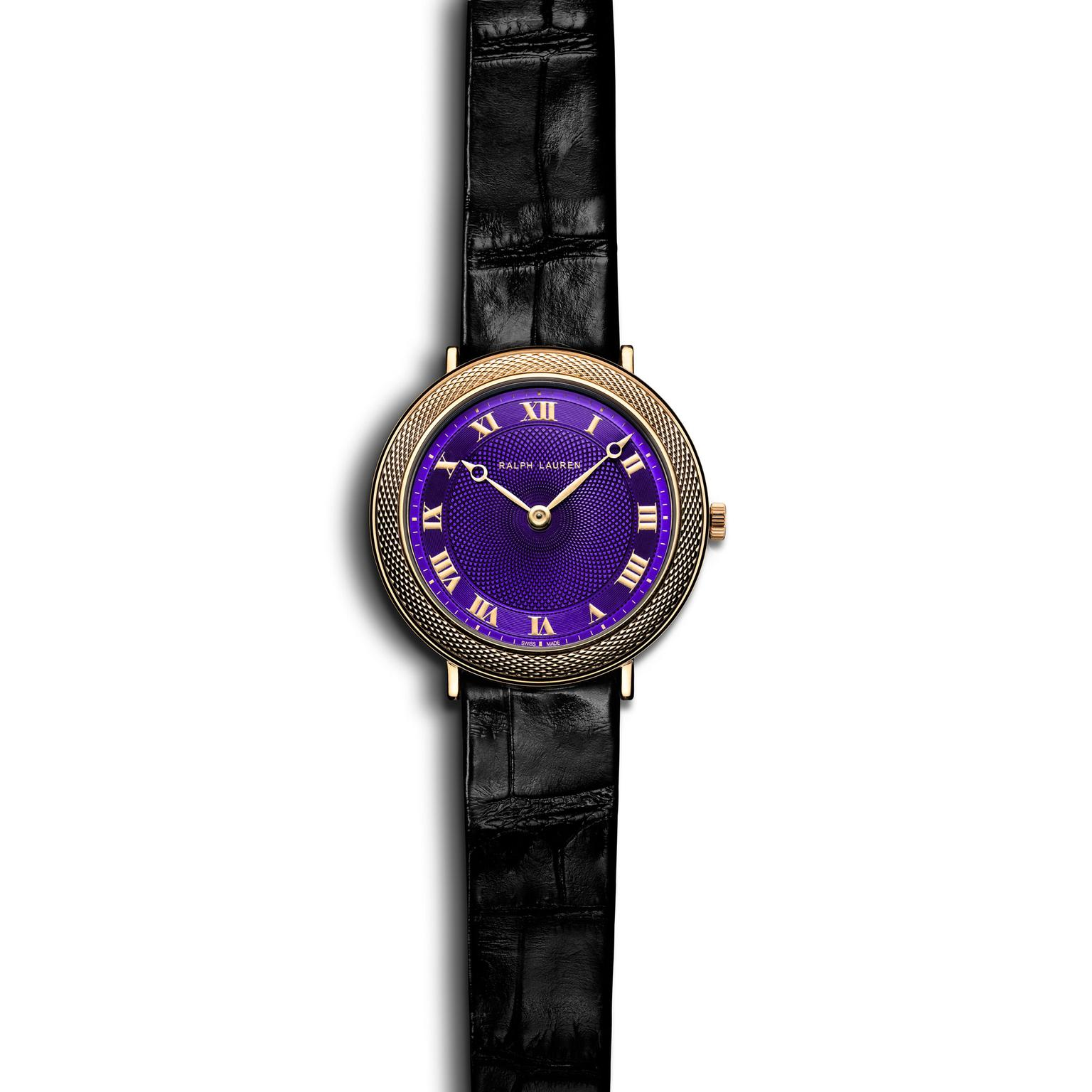 Ralph Lauren 32mm slim classic watch purple dial