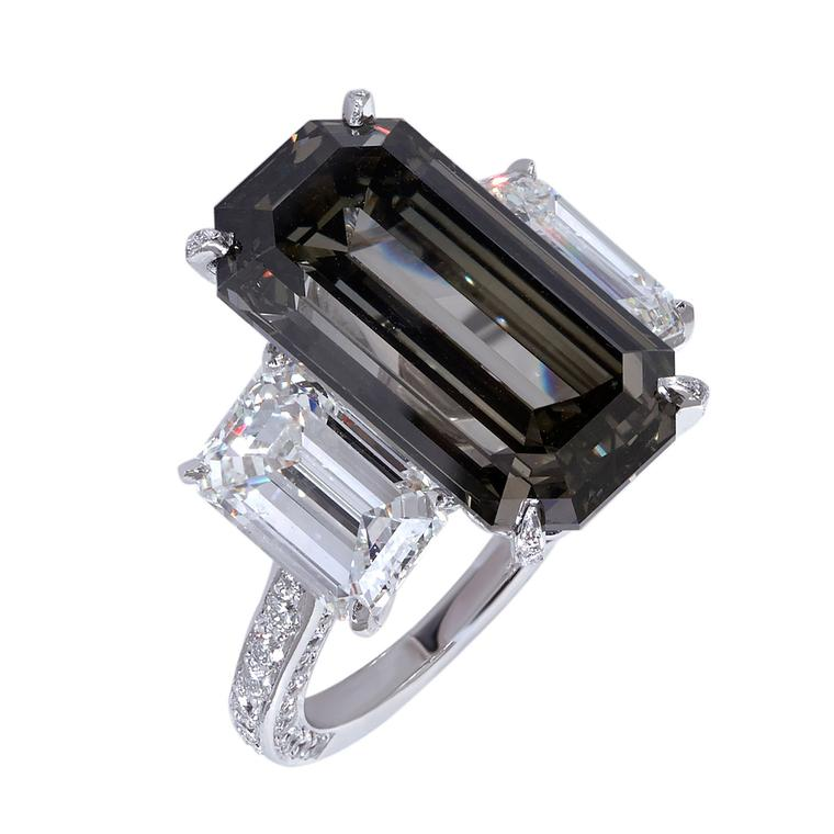Moussaieff 11.07-carat Fancy Dark Grey emerald-cut diamond ring