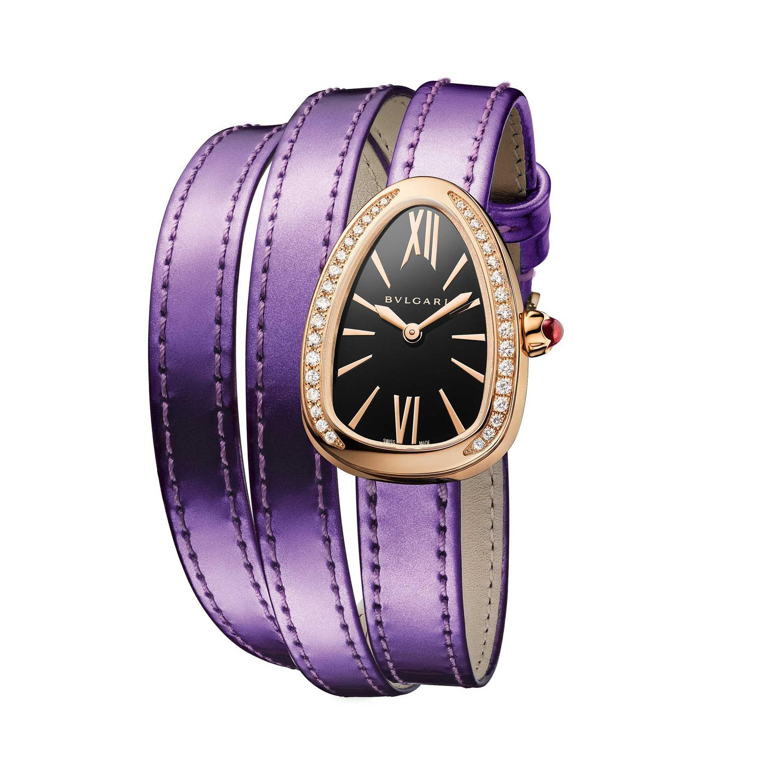 Bulgari-Serpenti-Twist-Your-Time-gold-ladies-watch-on-metallic-purple-strap