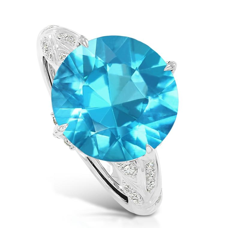 Swimming pool blue apatite ring
