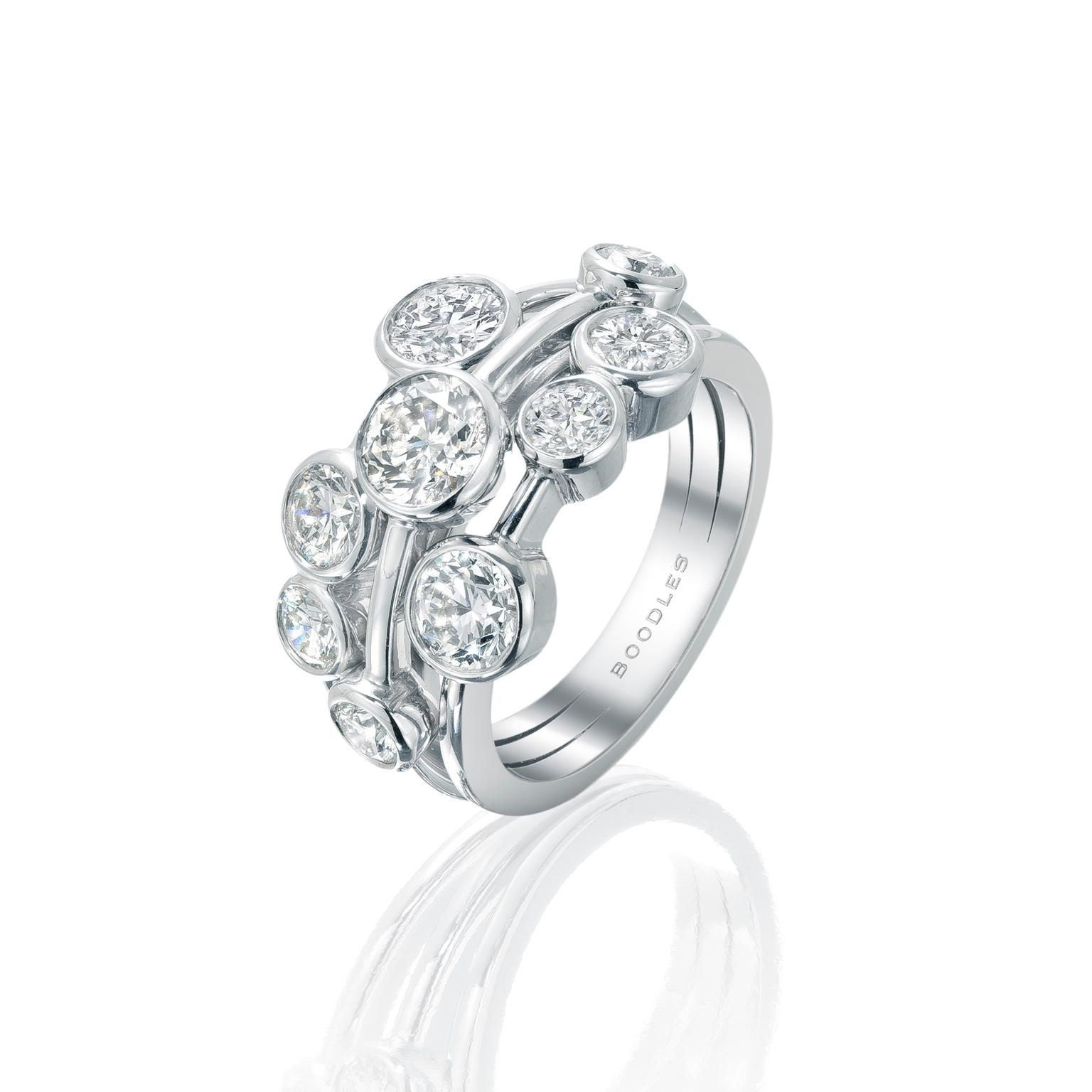 Boodles Raindance platinum and diamond ring