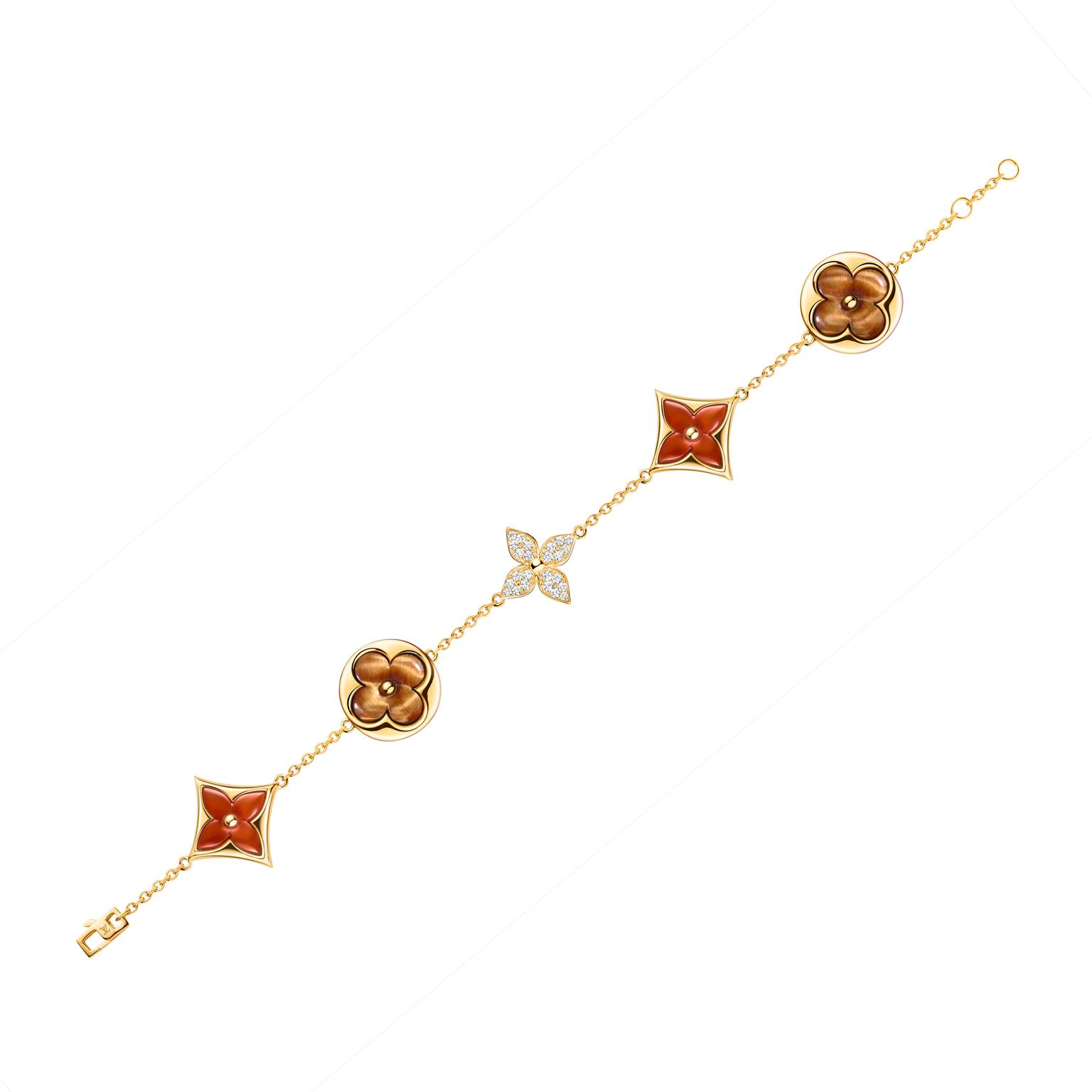 Louis Vuitton tiger's eye and carnelian bracelet