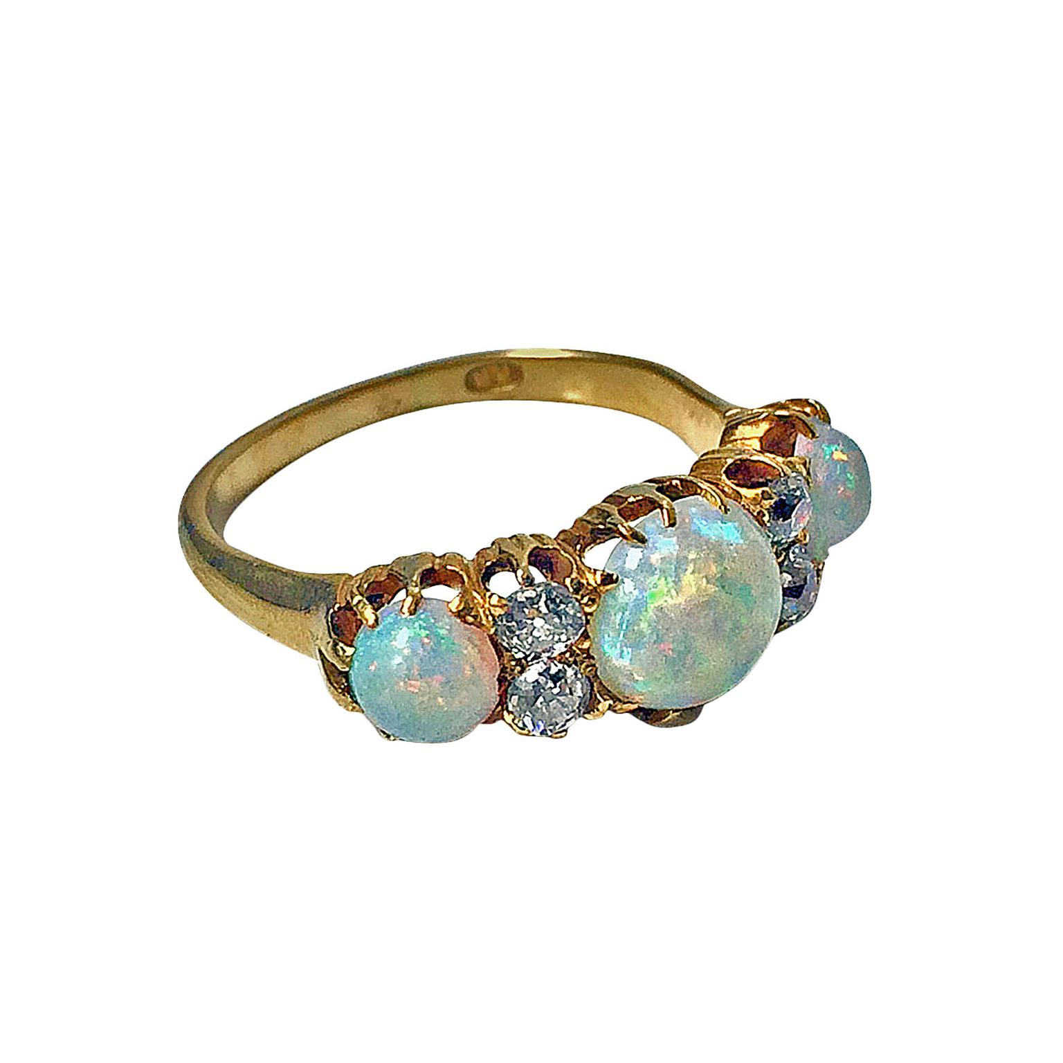 Louis Wine Ltd opal and diamond ring