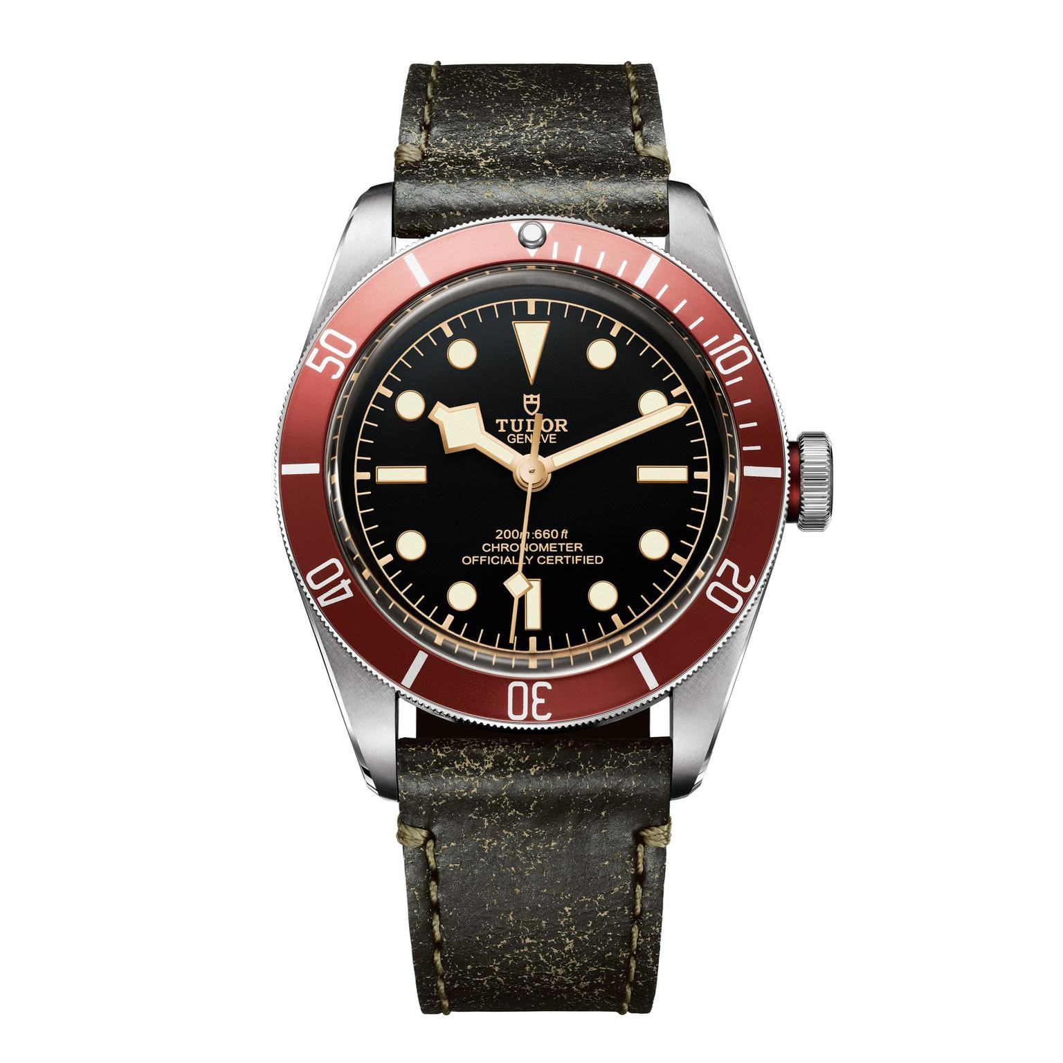 Tudor Heritage Black Bay watch with aged leather strap