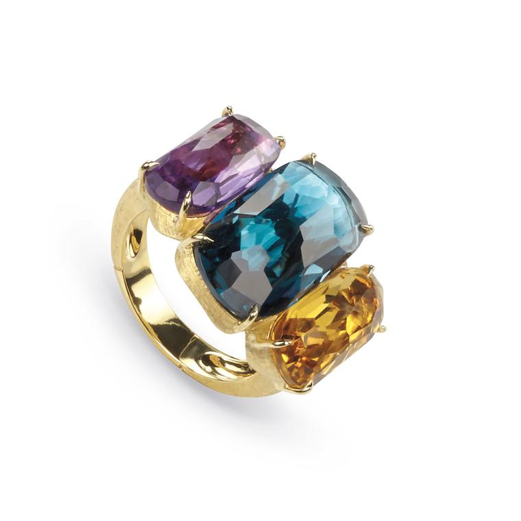 Marco Bicego amethyst, London Blue topaz and citrine ring