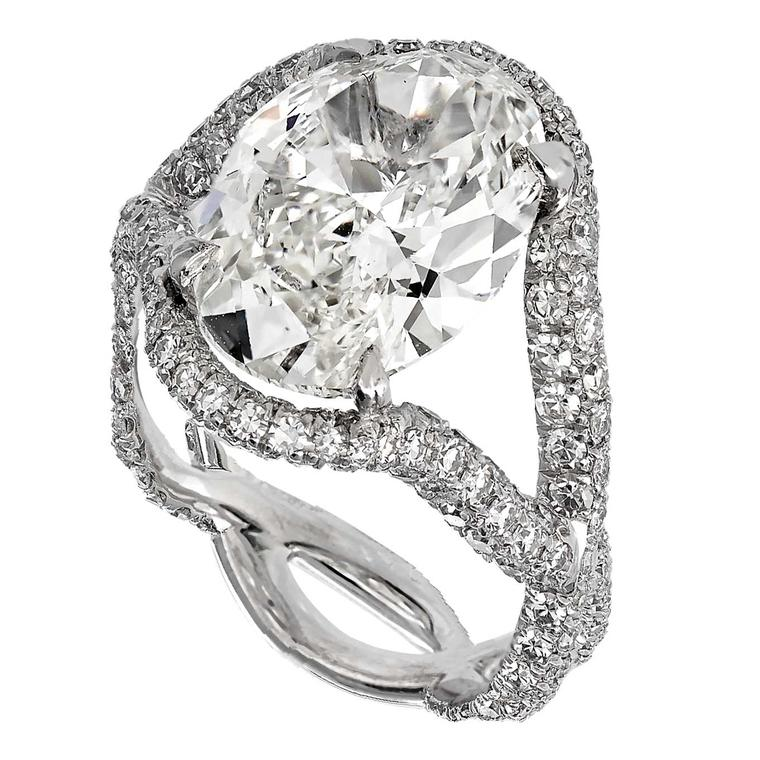 David Morris oval diamond twisted shank engagement ring