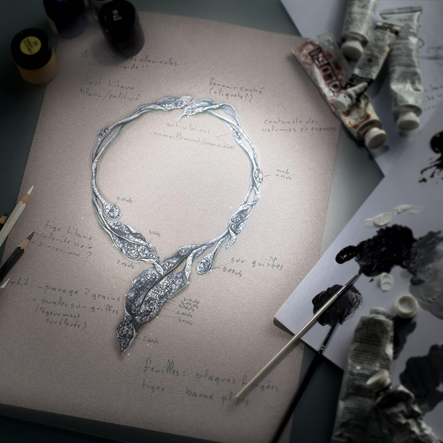A sketch of the Cindy Chao Winter Leaves necklace