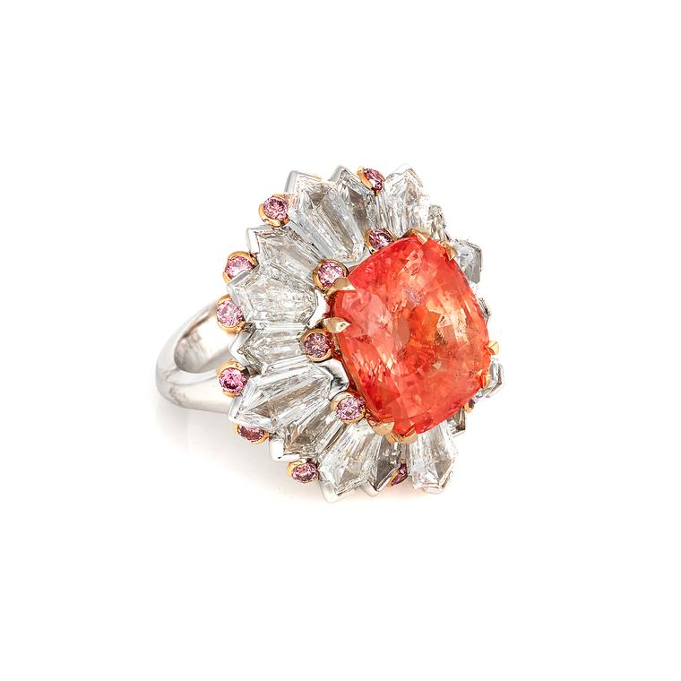 12.30 carat Padparadscha sapphire cocktail ring