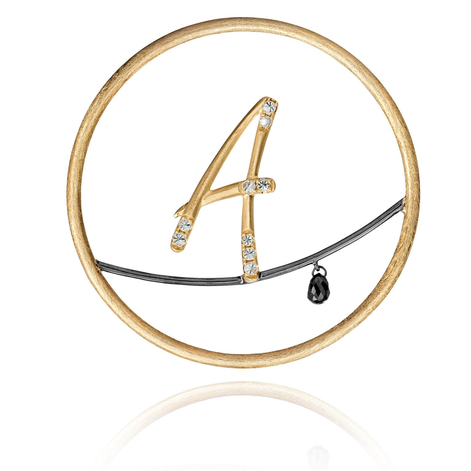 Annoushka-18-carat-yellow-gold-and-diamond-alaphabet-hoop-earring