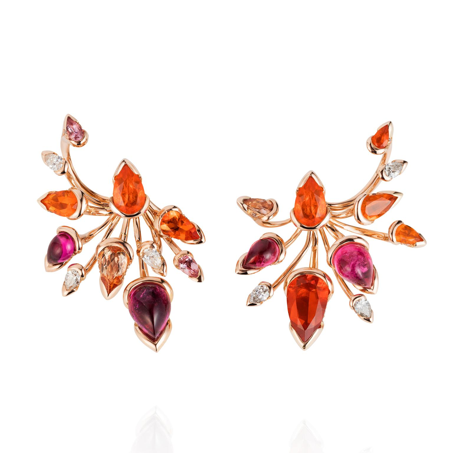 Bromelia Multi Coloured Gemstone Earrings In Rose Gold