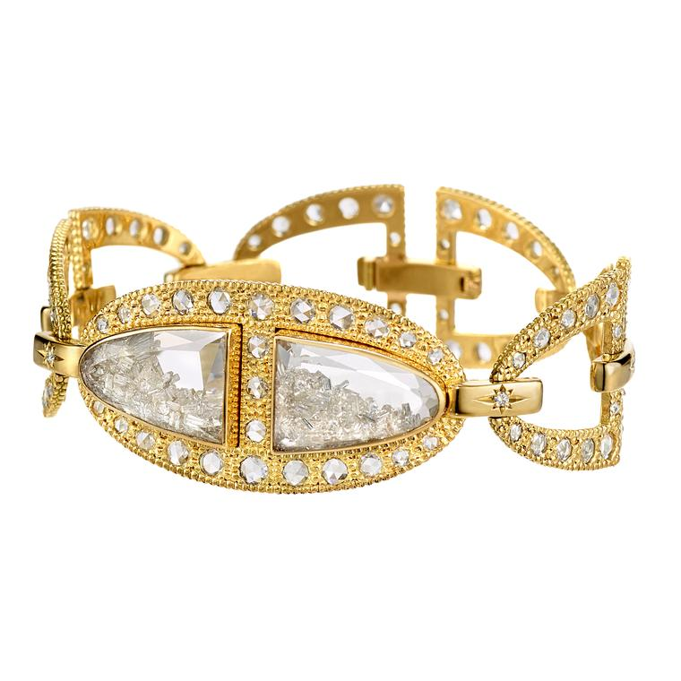 Moritz Glik diamond and sapphire bracelet in yellow gold