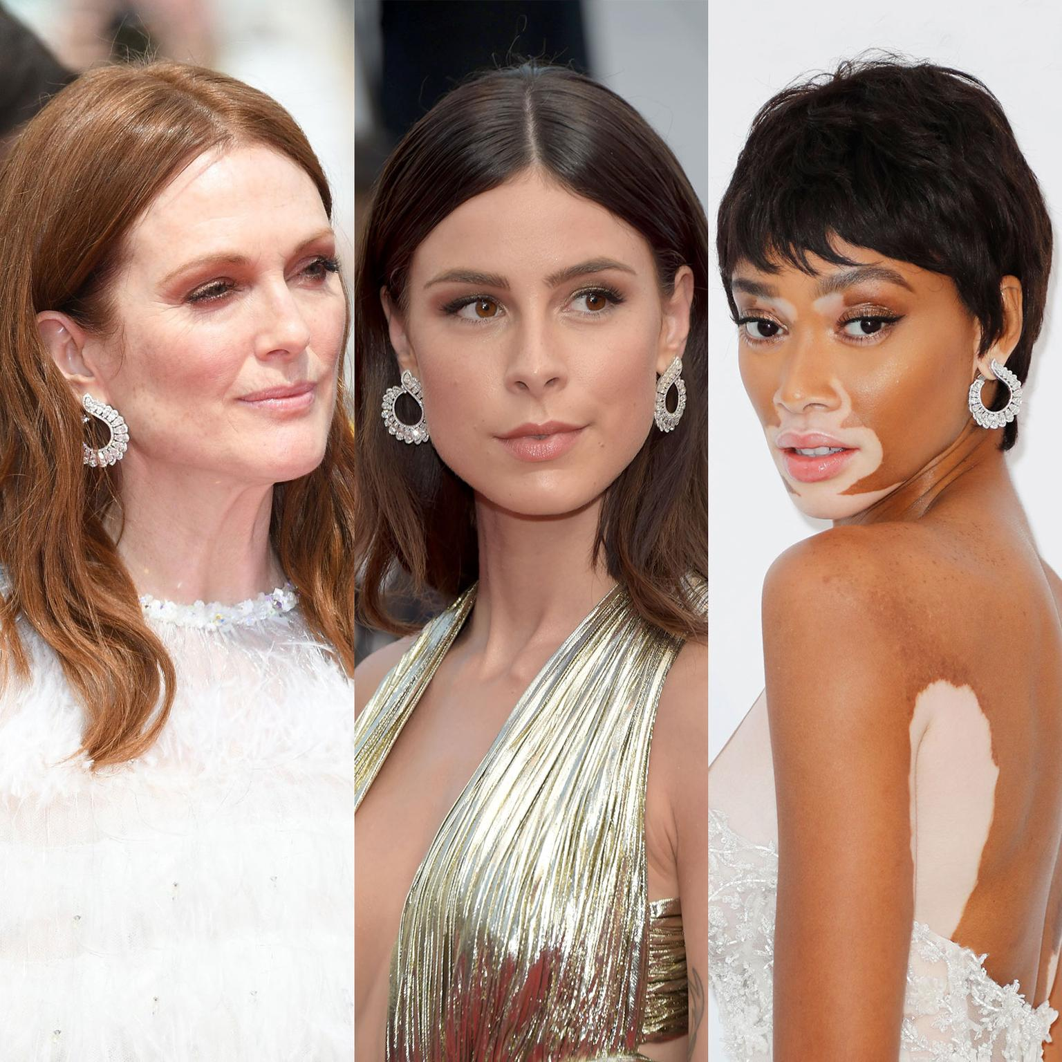Julianne Moore, Lena Meyer and Winnie Harlow wear the same Chopard diamond earrings on the Cannes Film Festival red carpet