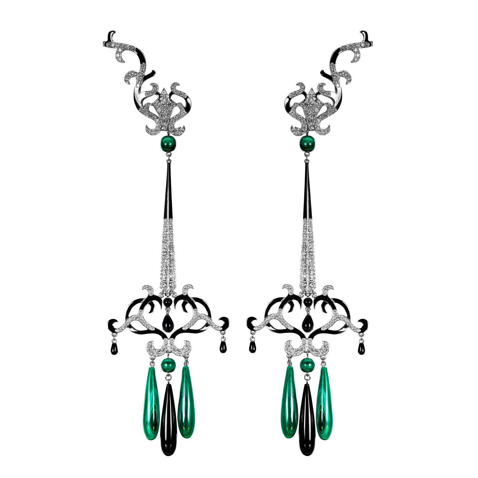 Amaneé malachite onyx and diamond earrings Dionea Orcini