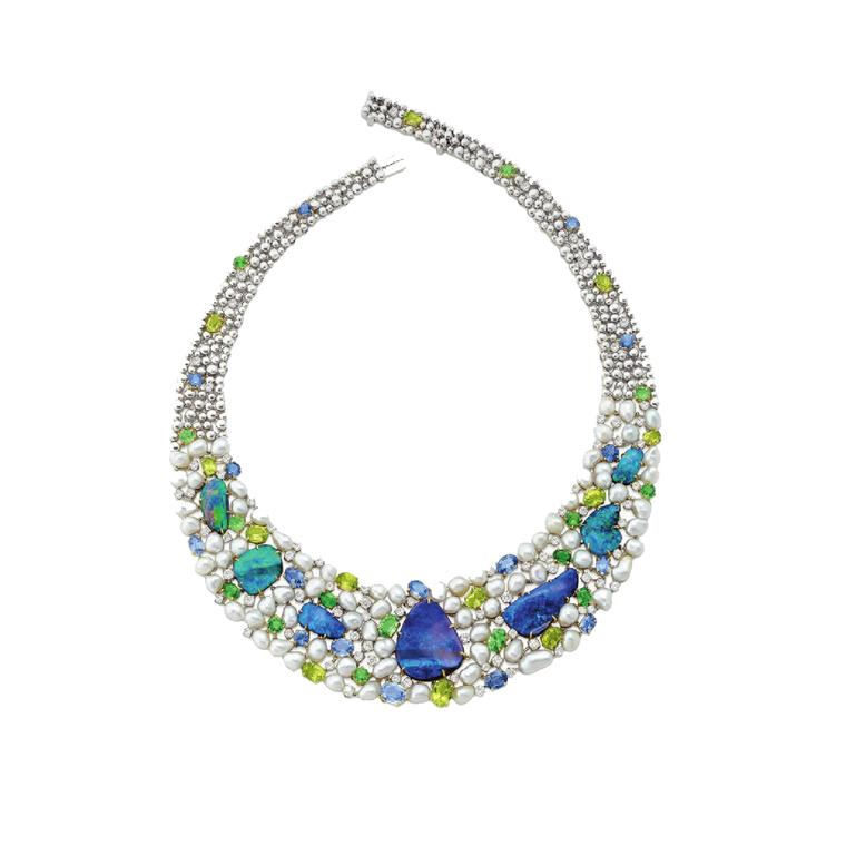 Margot McKinney Australian opal with keshi pearls, sapphires, aquamarines, peridot and diamonds