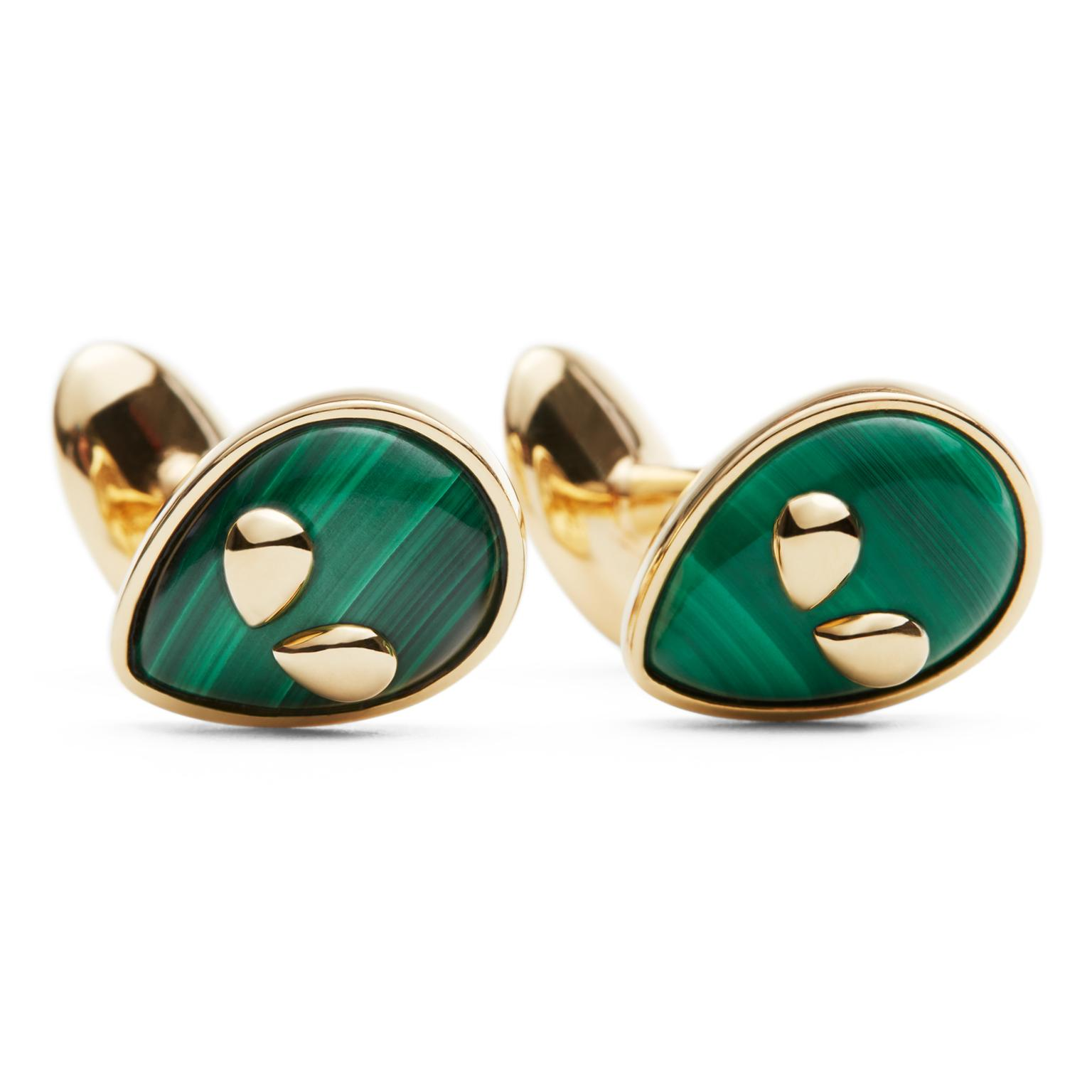 Alina Abegg Cosmic Escape Alien cufflinks in malachite