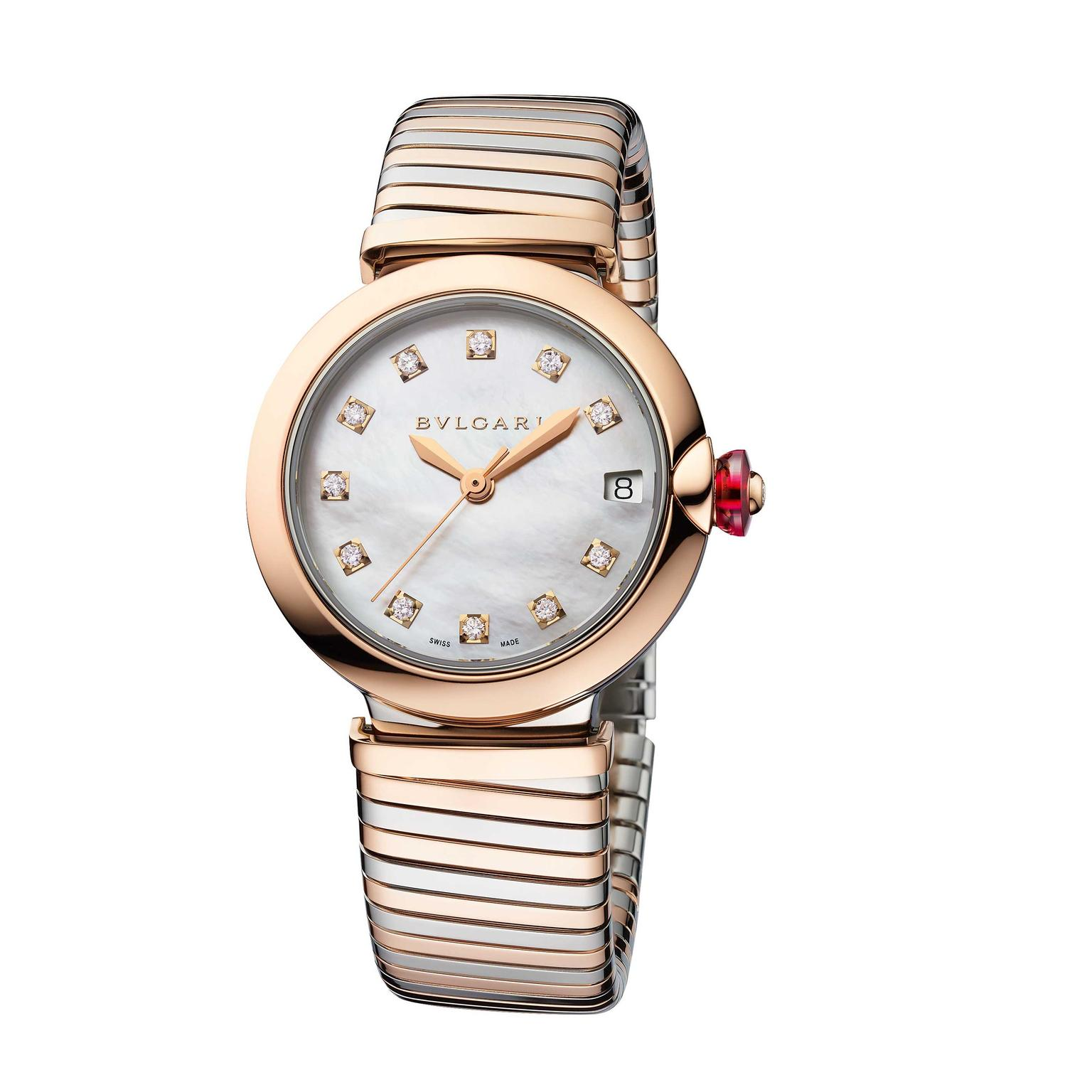 Bulgari Lvcea Tubogas 33mm stainless steel and rose gold watch  Price €10600