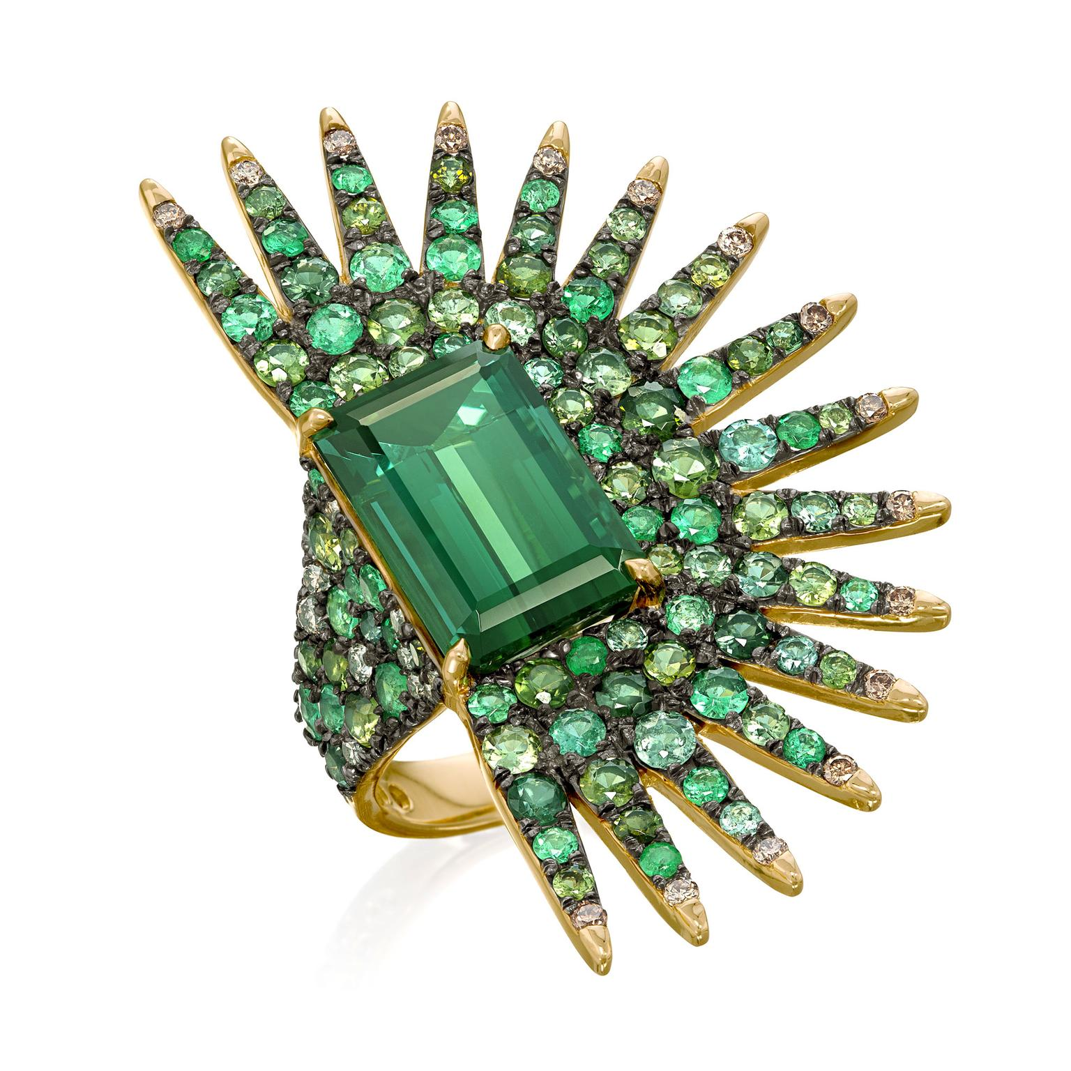 Amsterdam Sauer emerald, tourmaline and diamond ring
