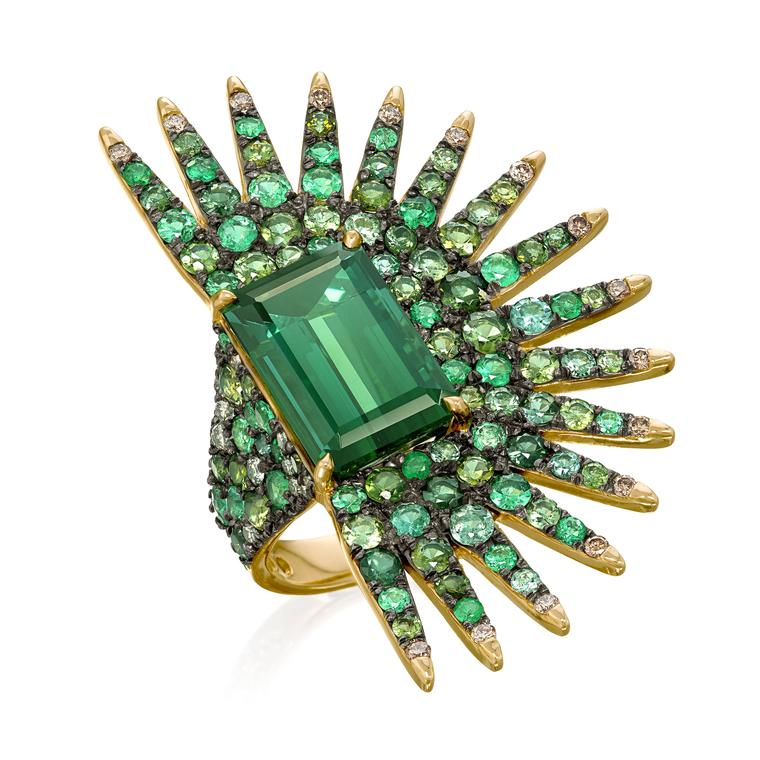 Palmeira emerald ring with tourmalines and diamonds