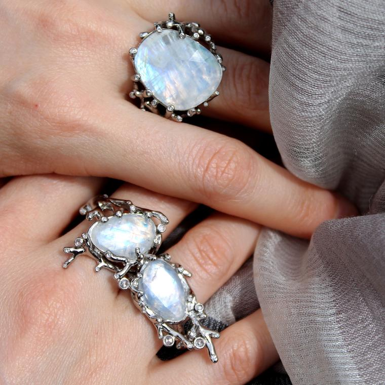 AENEA Alaria double and single rainbow moonstone rings
