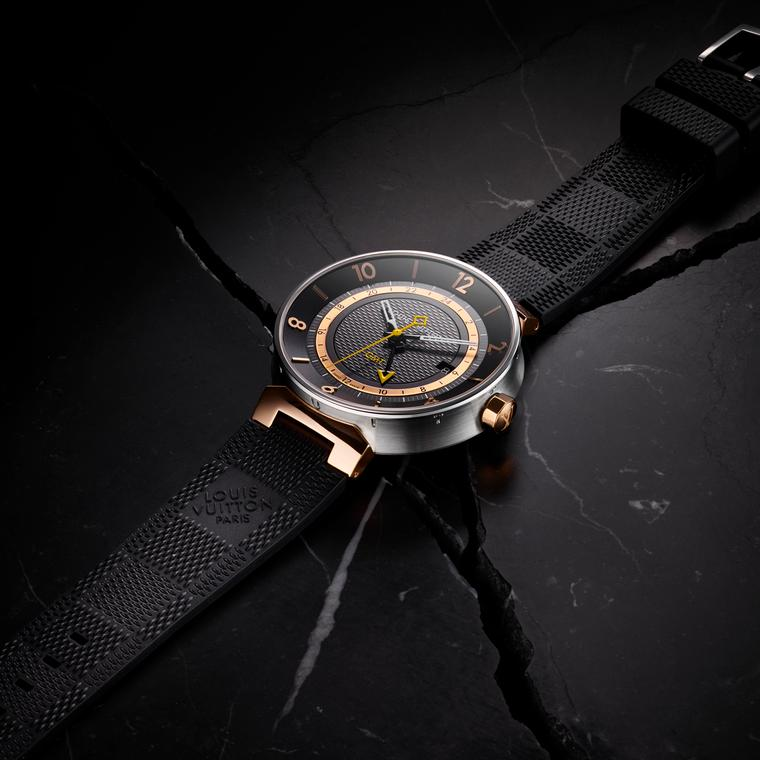 Louis Vuitton Tambour Moon GMT Black watch in steel and pink gold