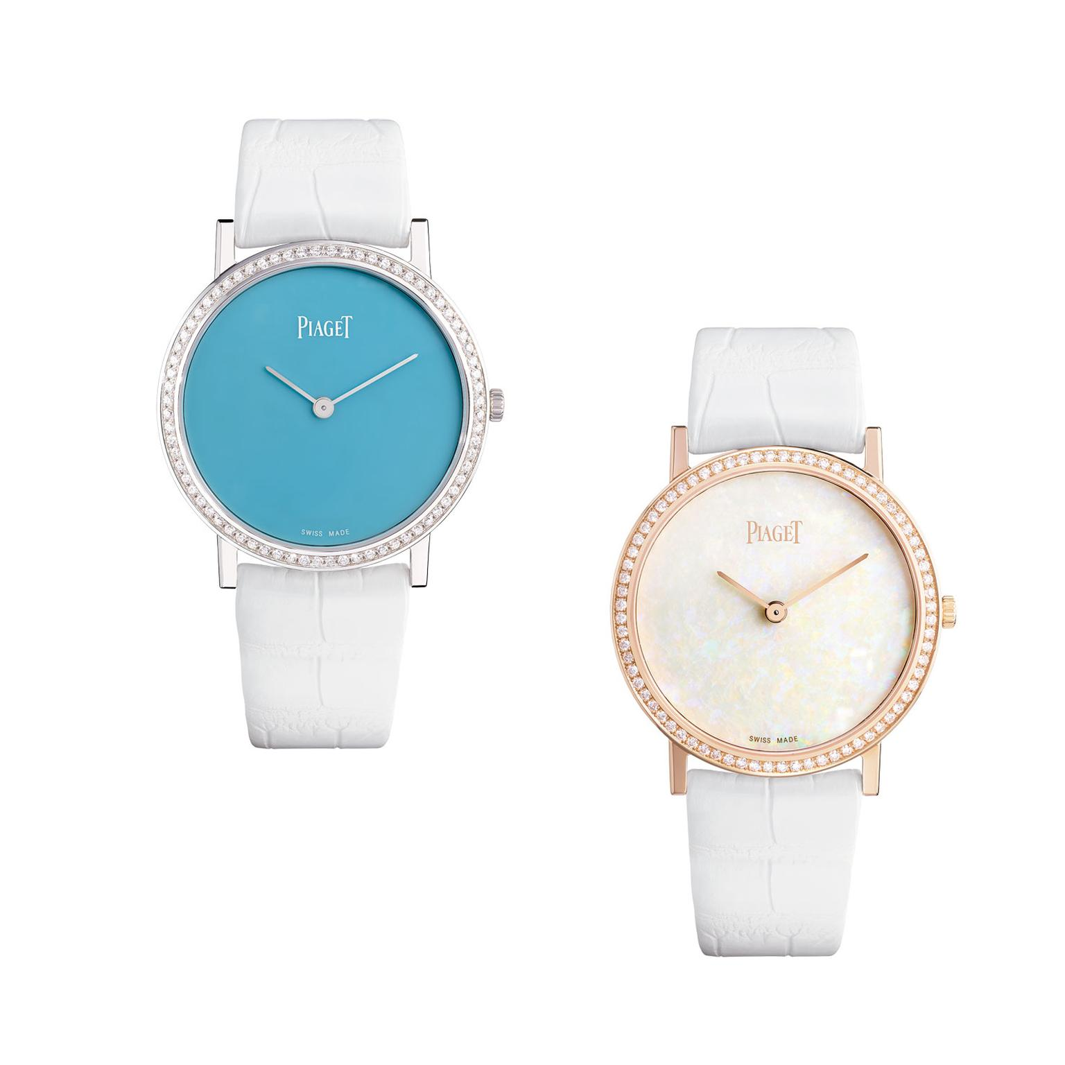 Piaget Altiplano watches with turquoise and white opal dials