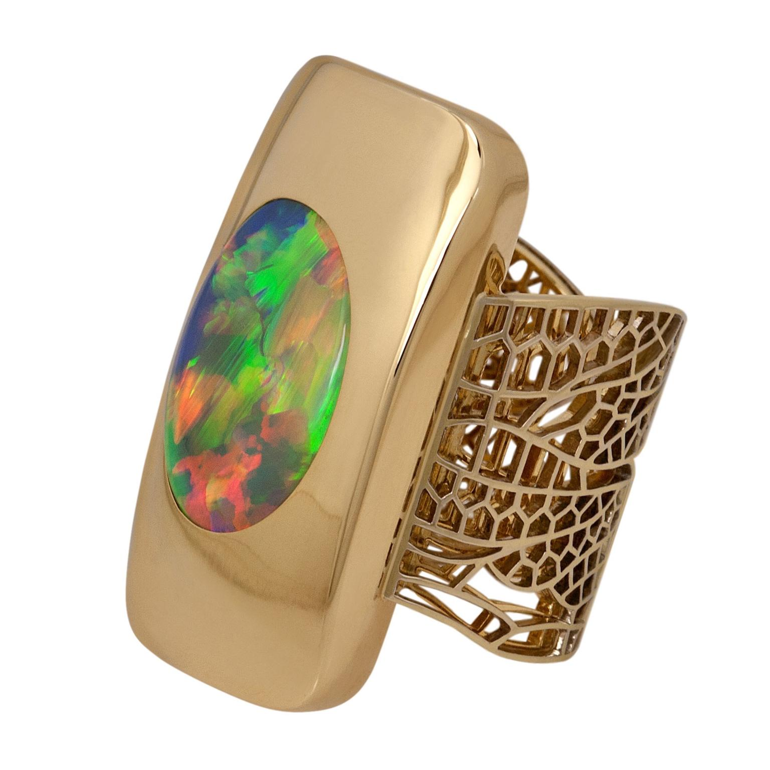 Ming Lampson Australian opal Dragonfly ring in yellow gold