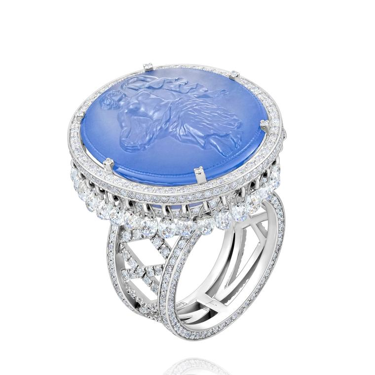 Chalcedony cameo ring with diamonds