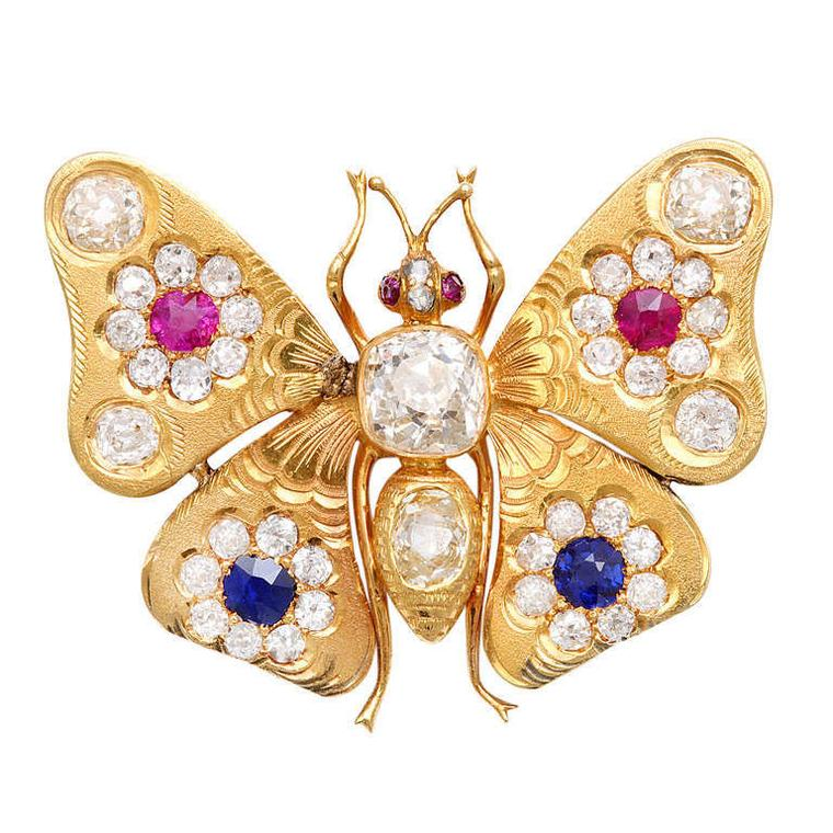 Antique brooches A La Vieille Russie Victorian gem-set butterfly