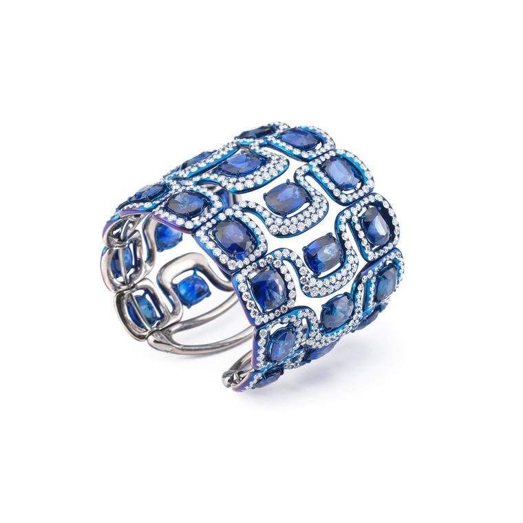 Glenn Spiro blued titanium diamond and sapphire cuff