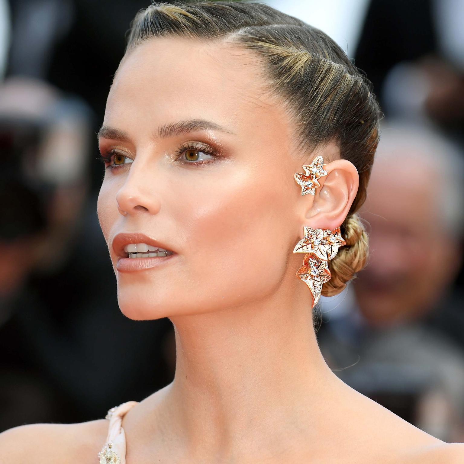 Natasha Poly in Boucheron earrings Cannes Film Festival 2019