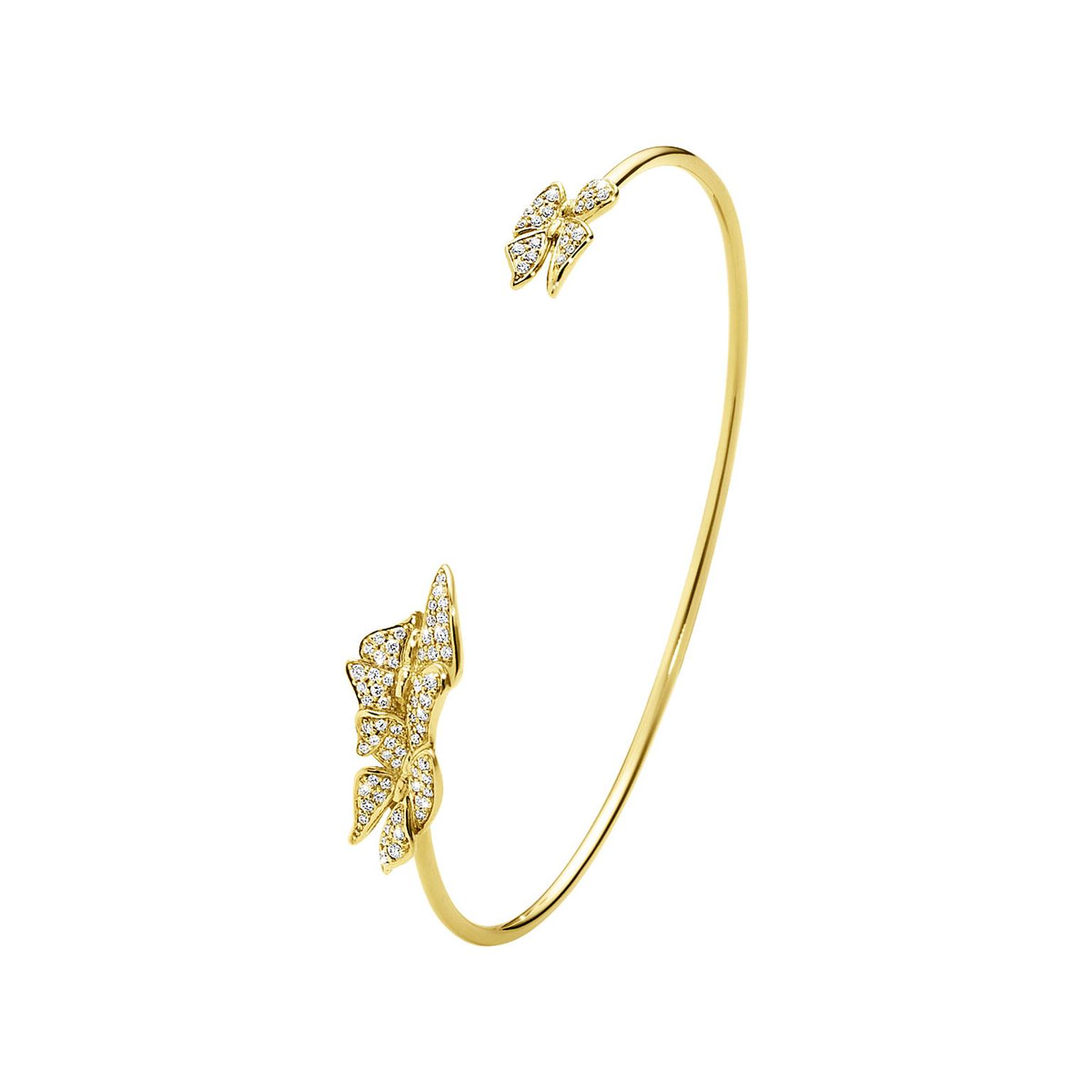 Georg Jensen Askill bangle in yellow gold with brillian- cut diamonds