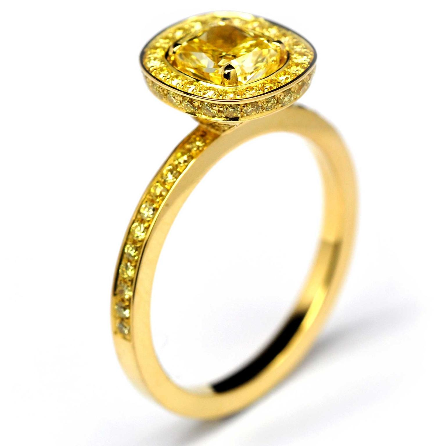 Bespoke Andrew Geoghegan yellow diamond engagement ring