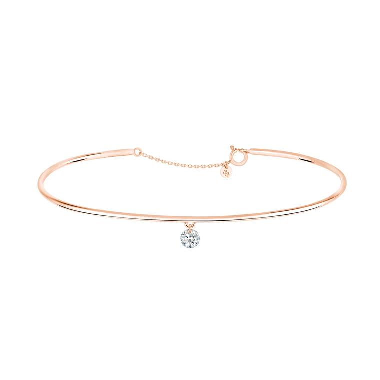 La Brune & La Blonde 360° bracelet with a brilliant-cut diamond on a rose gold chain