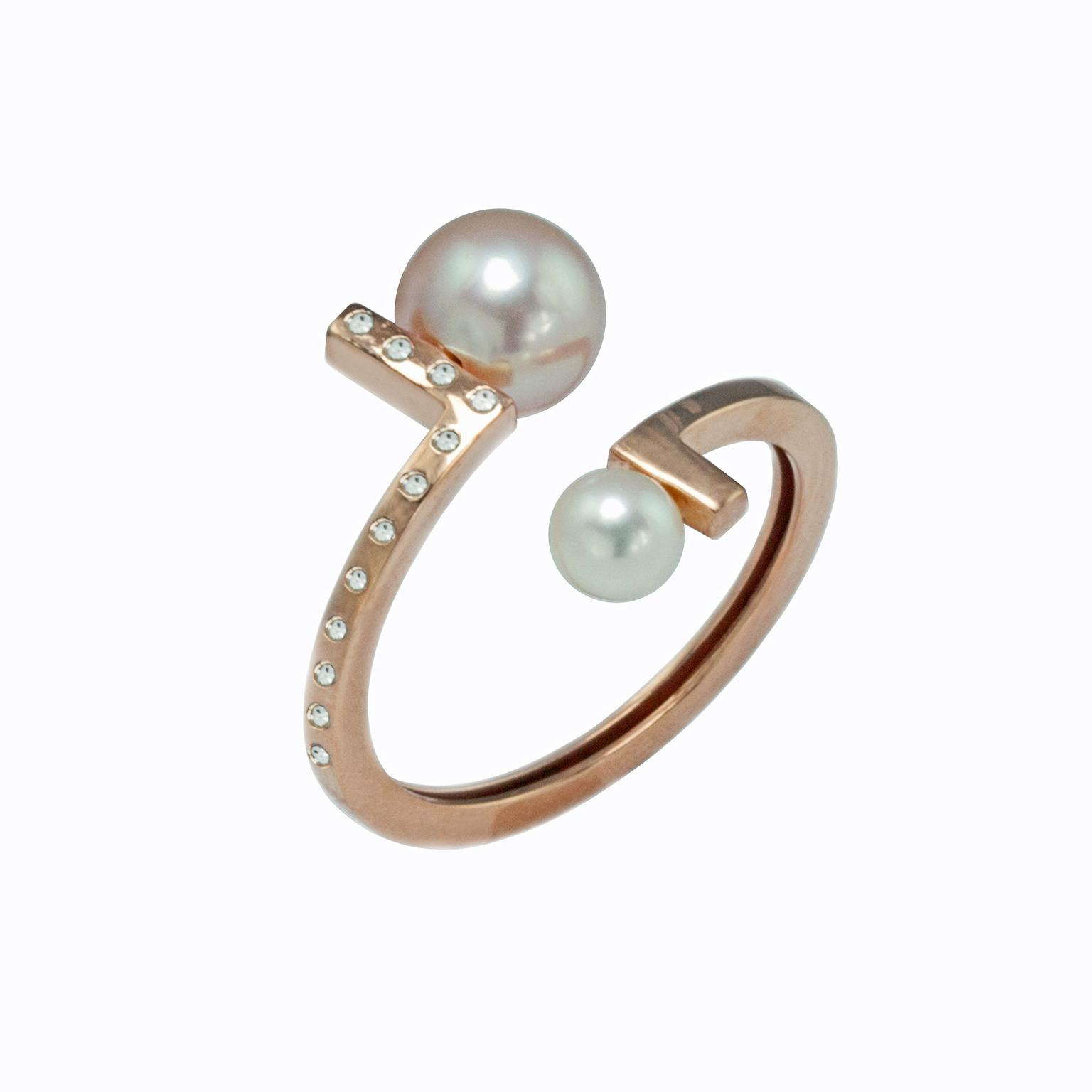 Kattri Asymmetry collection rose gold ring
