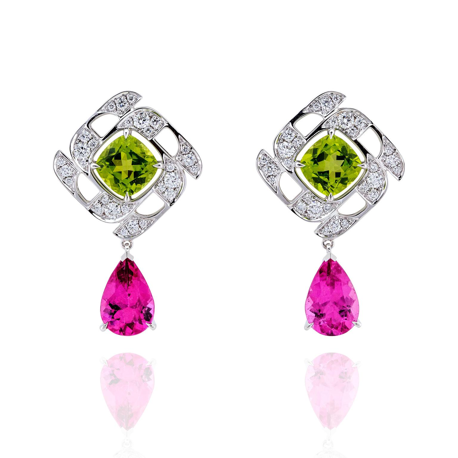 Boodles Prism peridot and rubellite earrings with diamonds