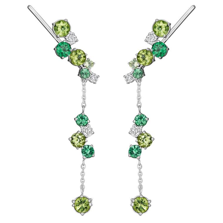 Melting Ice drop earrings with tsavorites, peridots and diamonds