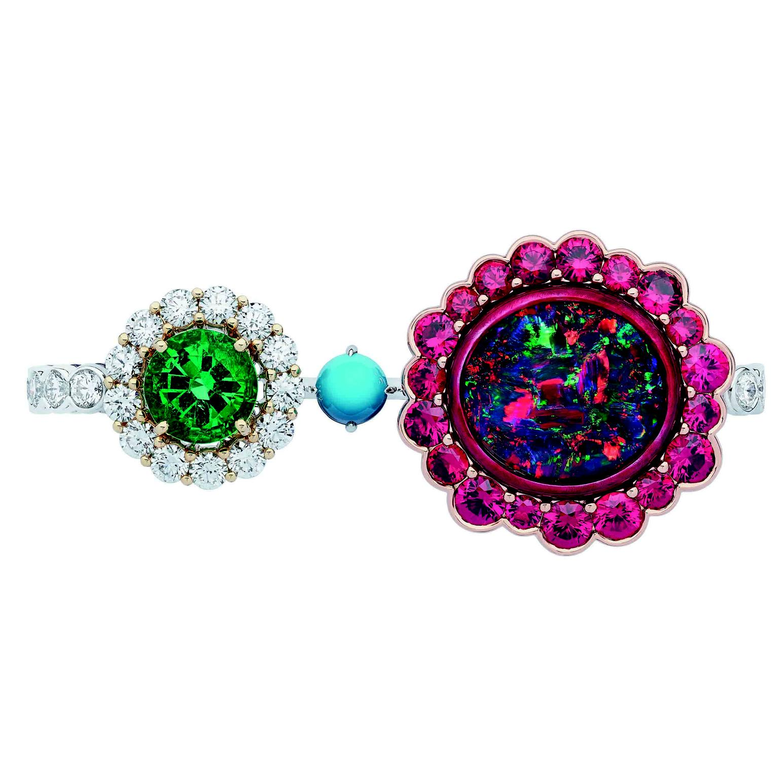 Dior et Moi double ring with red spinels and opal