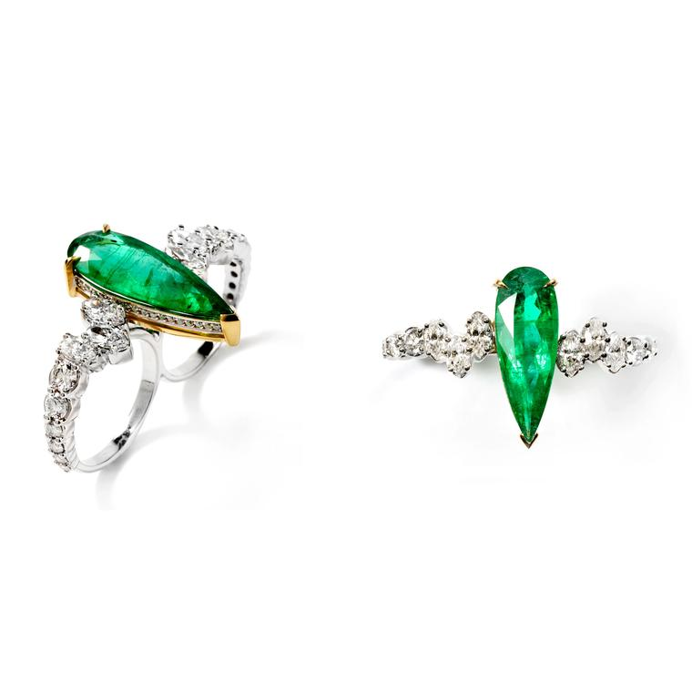 Ara Vartanian two-finger diamond and emerald ring