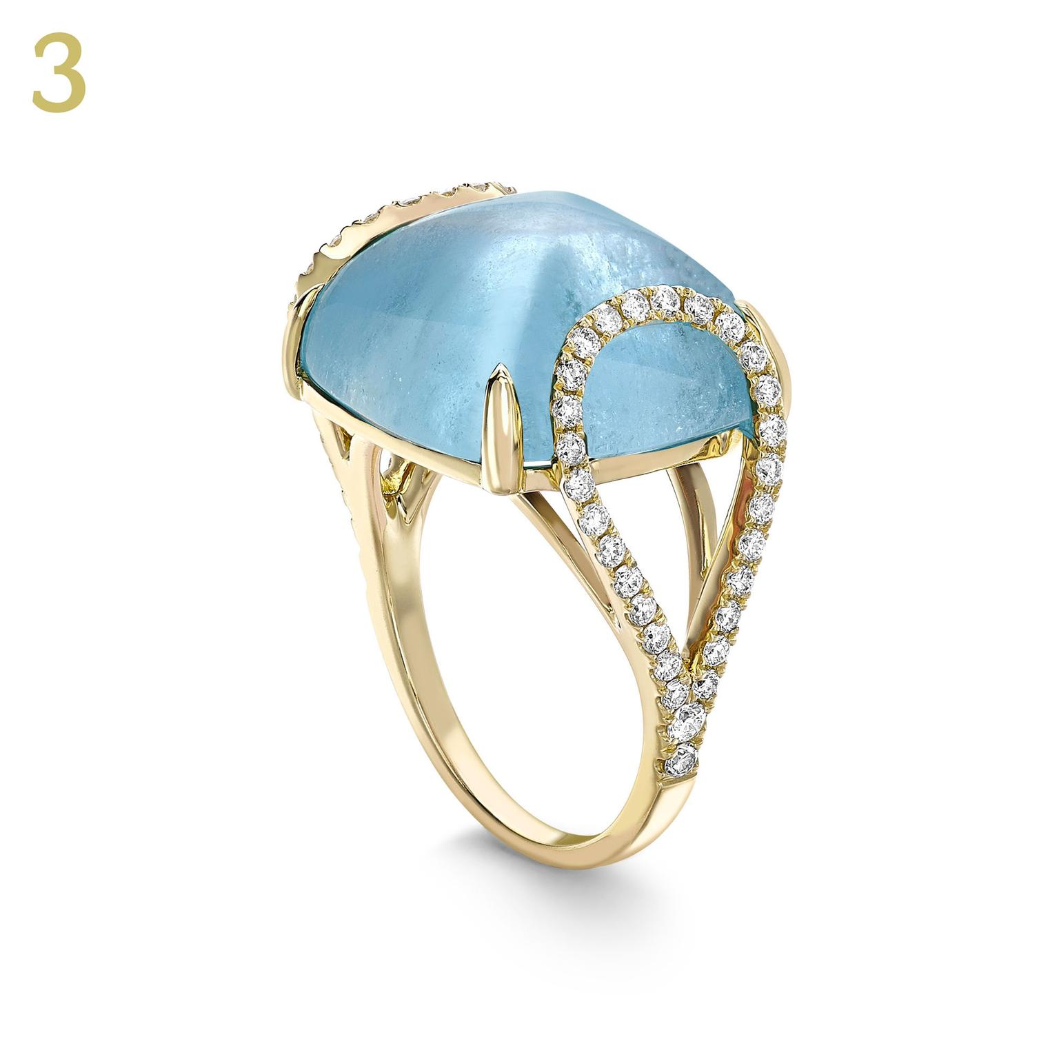 Kiki McDonough Luna aquamarine diamond ring
